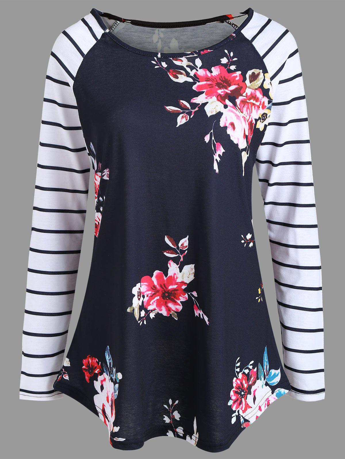 Floral Print Striped Tunic T-shirt - BLACK S
