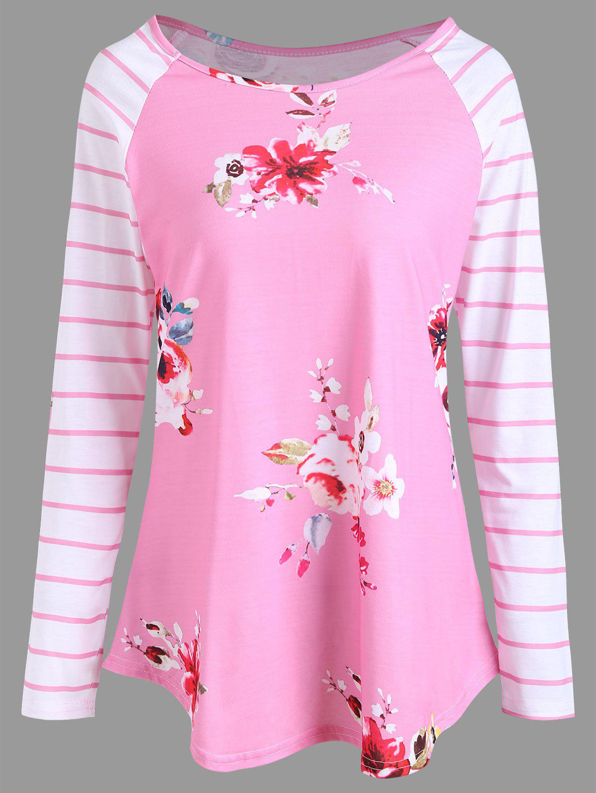 Floral Print Striped Tunic T-shirt - PINK S