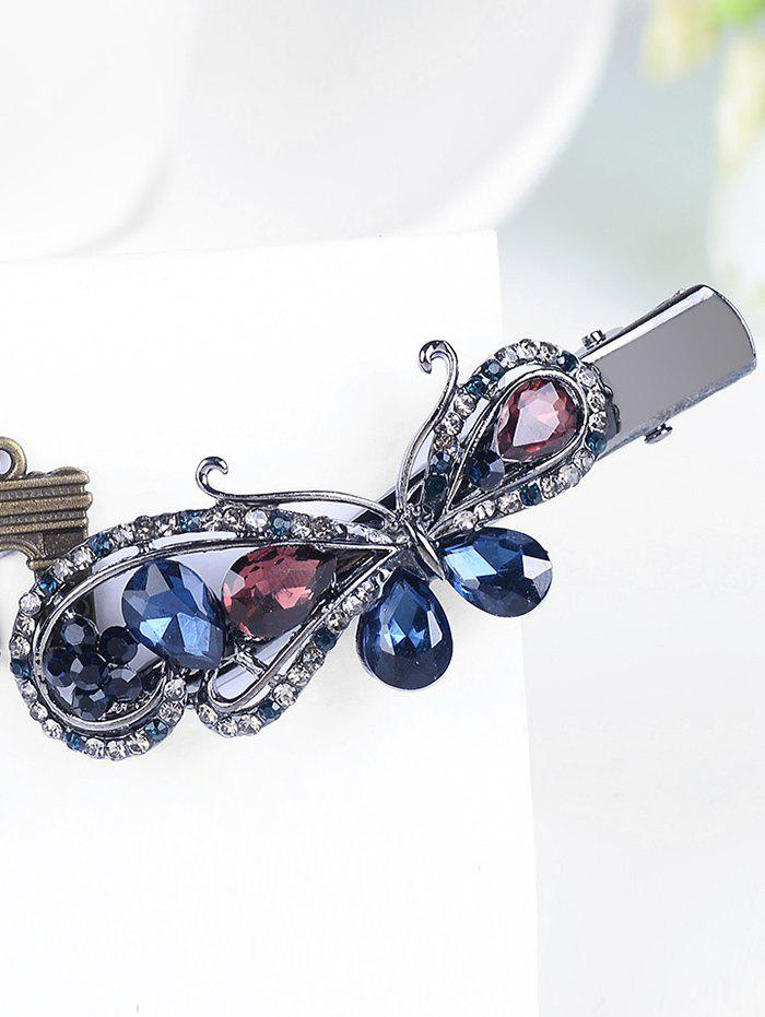 Butterfly Shaped Rhinestone Inlay Artificial Gem Hair Clip - COLORFUL