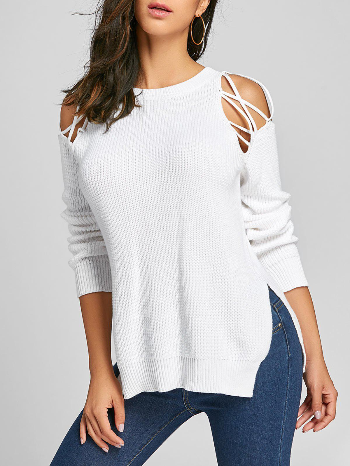 Criss Cross Cold Shoulder Slit Sweater criss cross side slit hollow out sweater