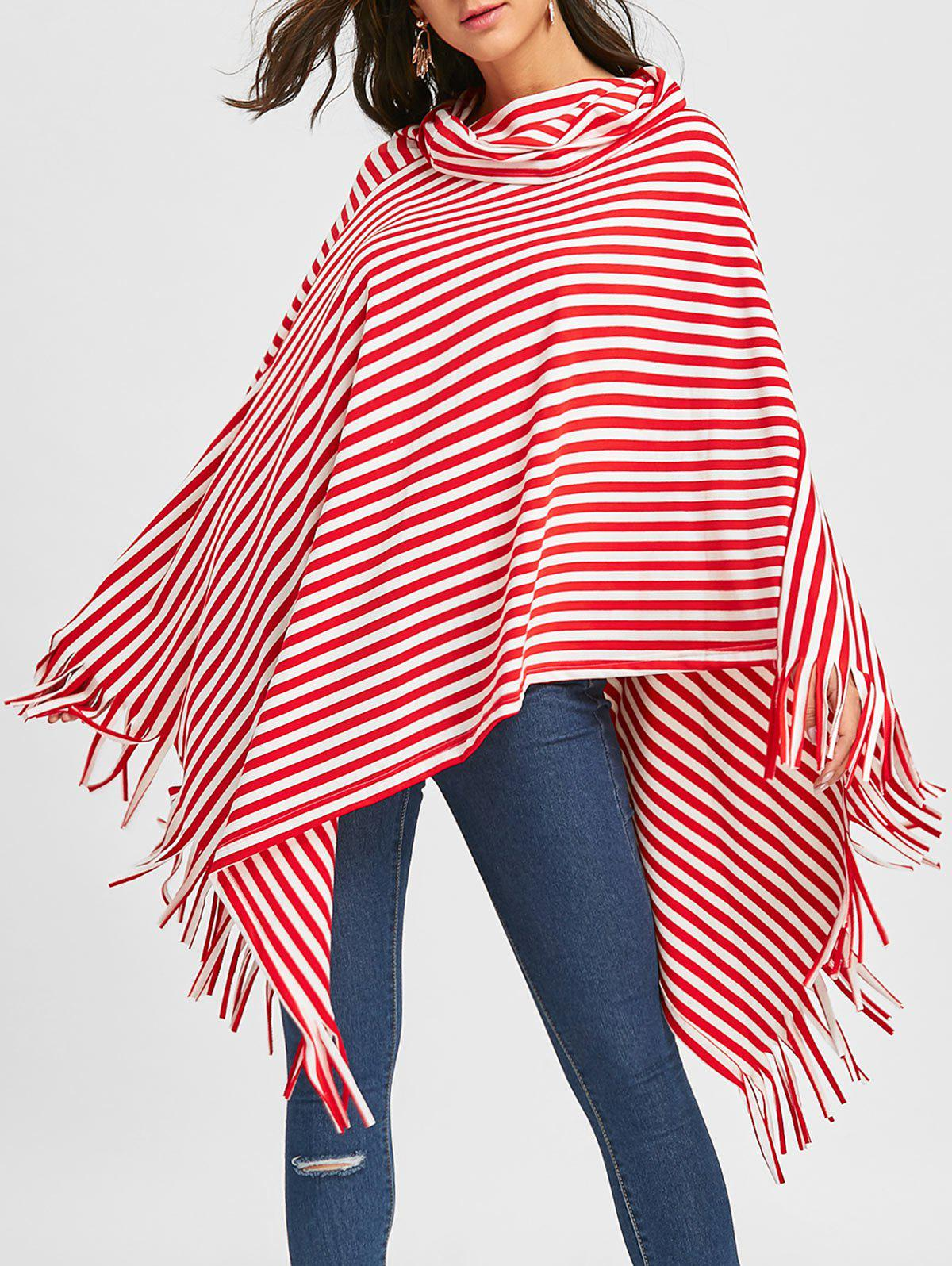 Fringe Striped Cowl Neck Poncho - RED L