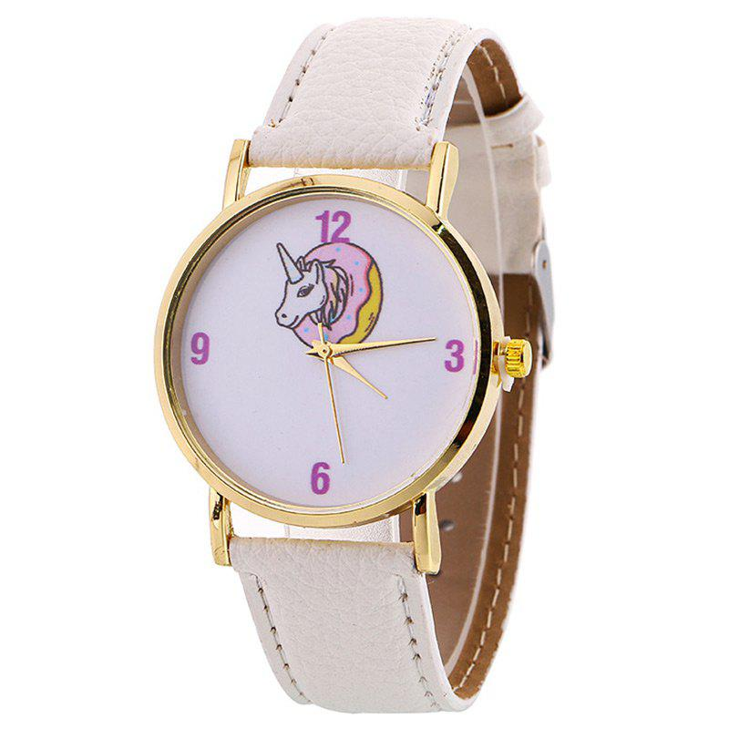 Faux Leather Strap Unicorn Face Watch - WHITE