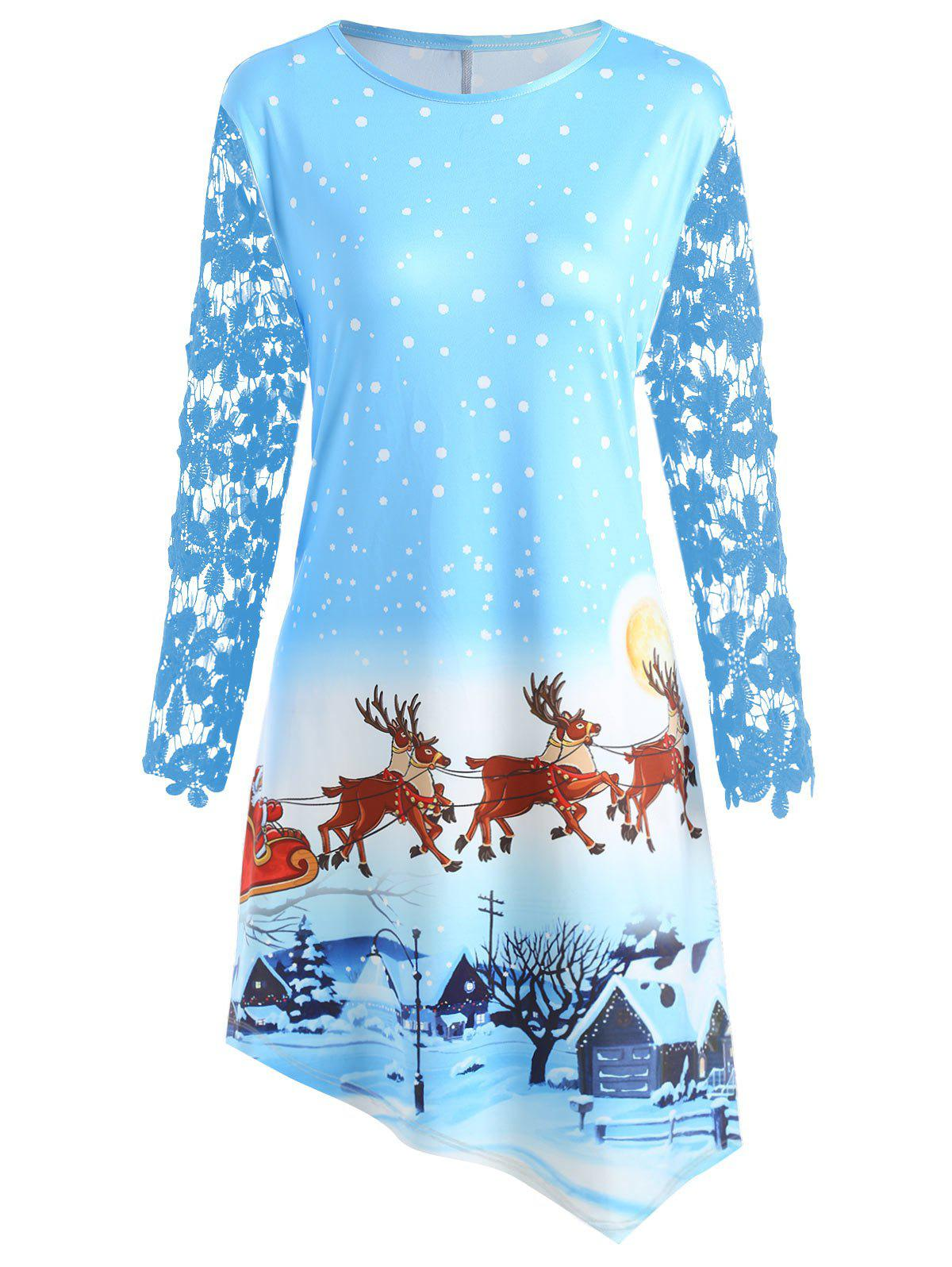 Christmas Night Scene Printed Plus Size Dress - CLOUDY 5XL