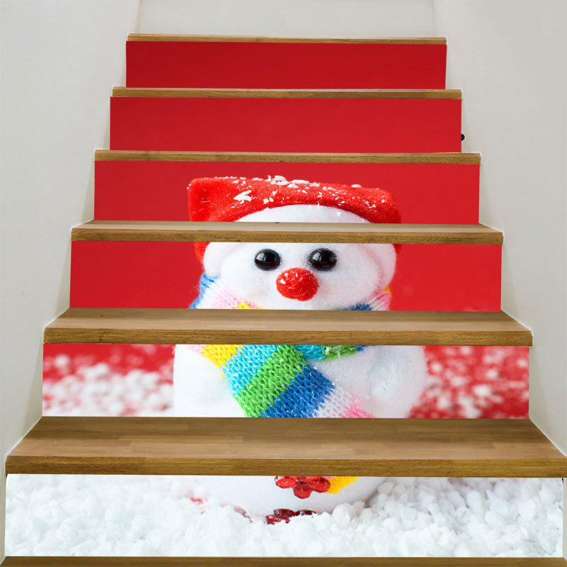 Christmas Small Snowman Printed Stair Stickers spot light background snowman printed removable stair stickers