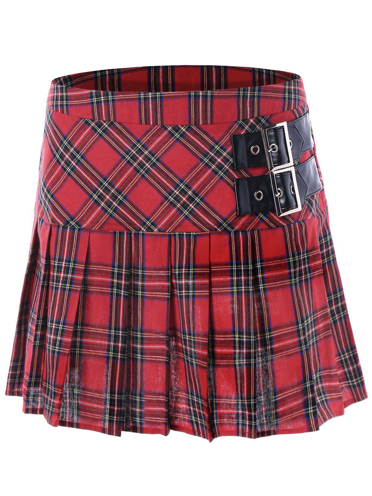 Buckles A-line Pleated Plaid Skirt - RED M