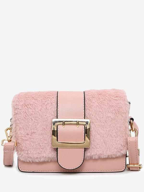 Buckle Strap Splicing Crossbody Bag - PINK