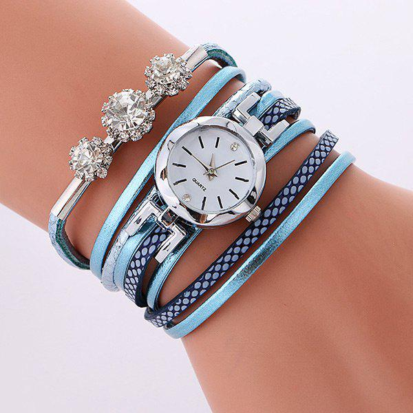Rhinestone Wrap Layered Bracelet Watch - LAKE BLUE
