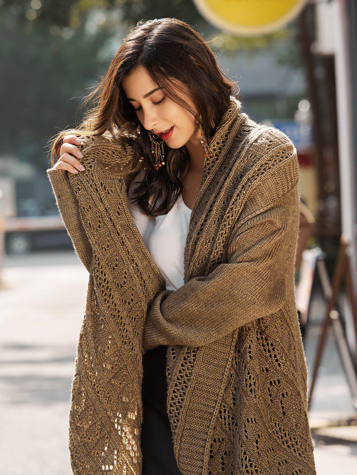 Crochet Knit Long Drop Shoulder Cardigan - BROWN ONE SIZE