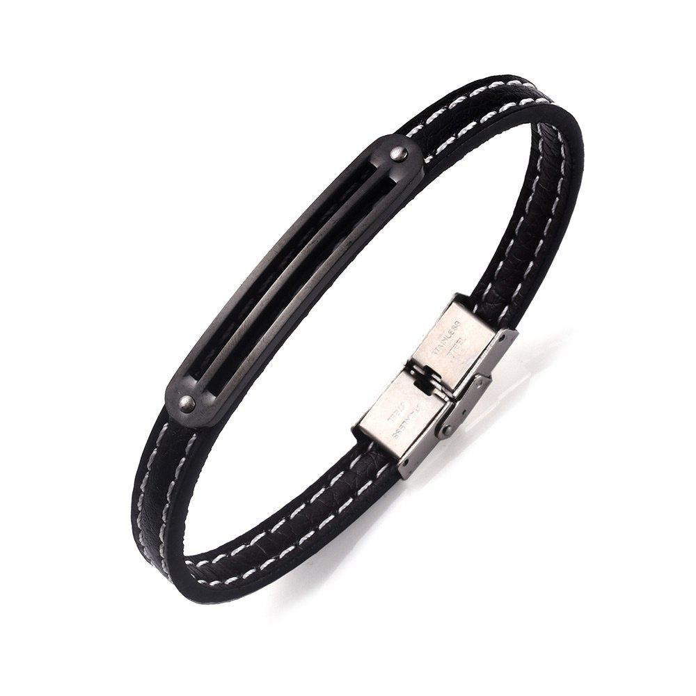 Stainless Steel PU Leather Simple Bracelet - BLACK