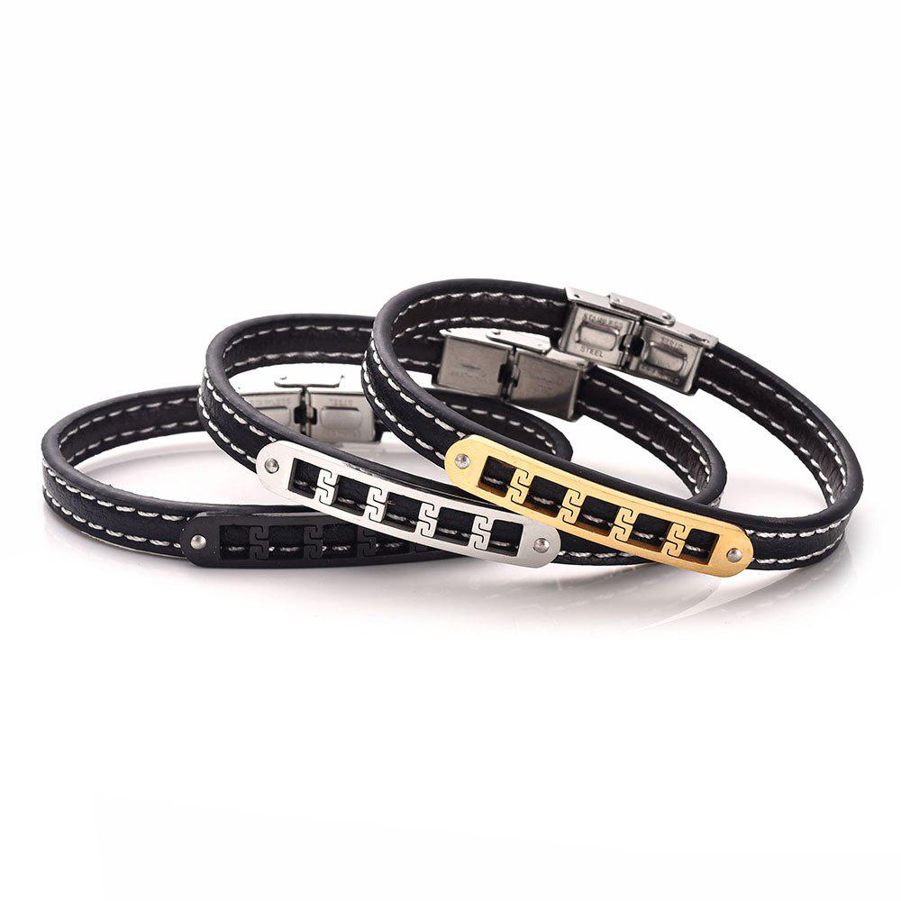 Stainless Steel Artificial Leather Engraved Fret Bracelet - BLACK