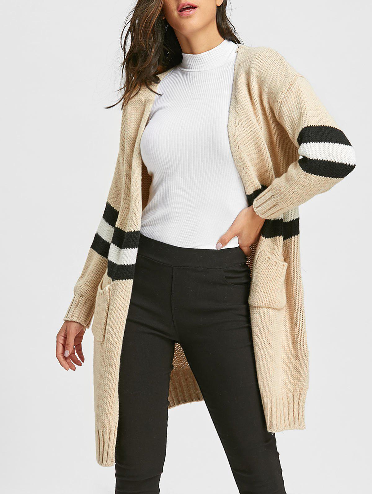 Side Slit Striped Open Front Cardigan - PALOMINO ONE SIZE