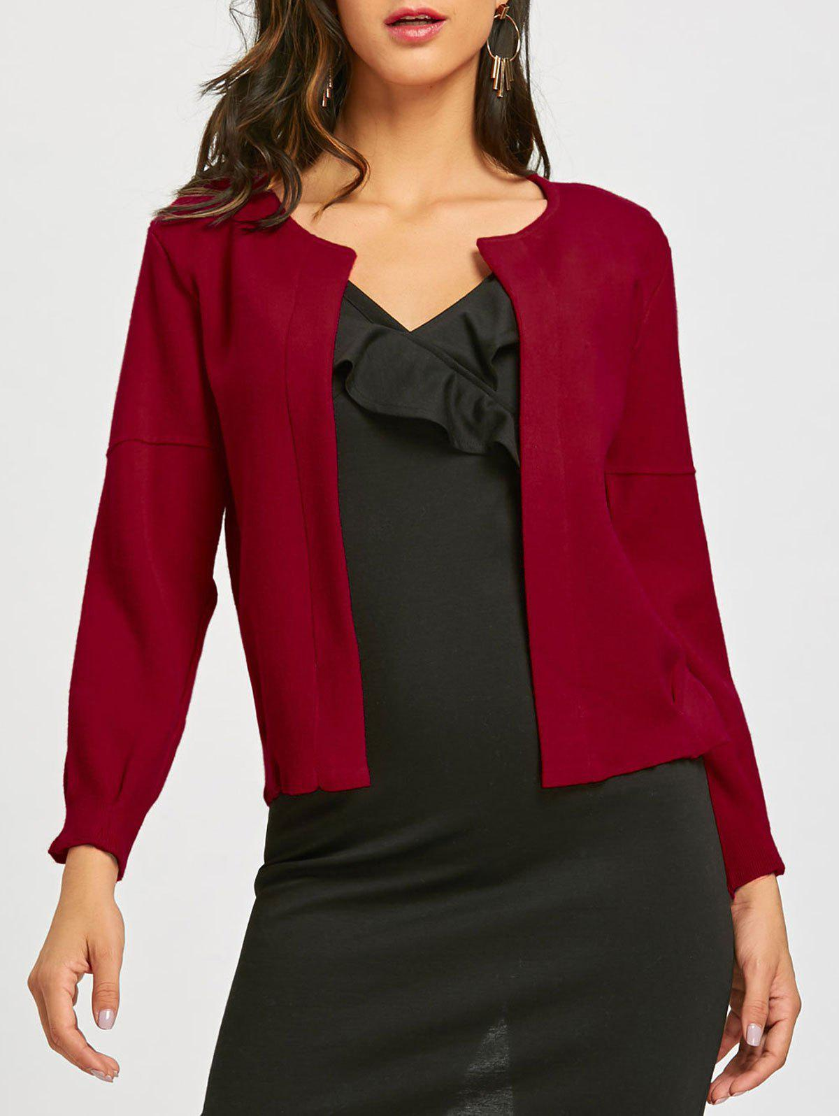Open Front Long Sleeve Short Cardigan - DEEP RED ONE SIZE