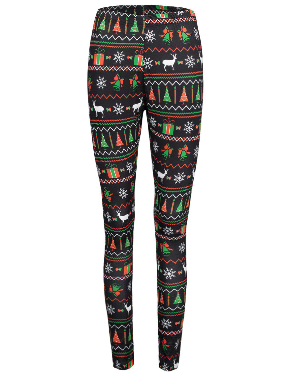 Christmas Ornaments Printed Elastic Waist Workout Leggings - COLORMIX L