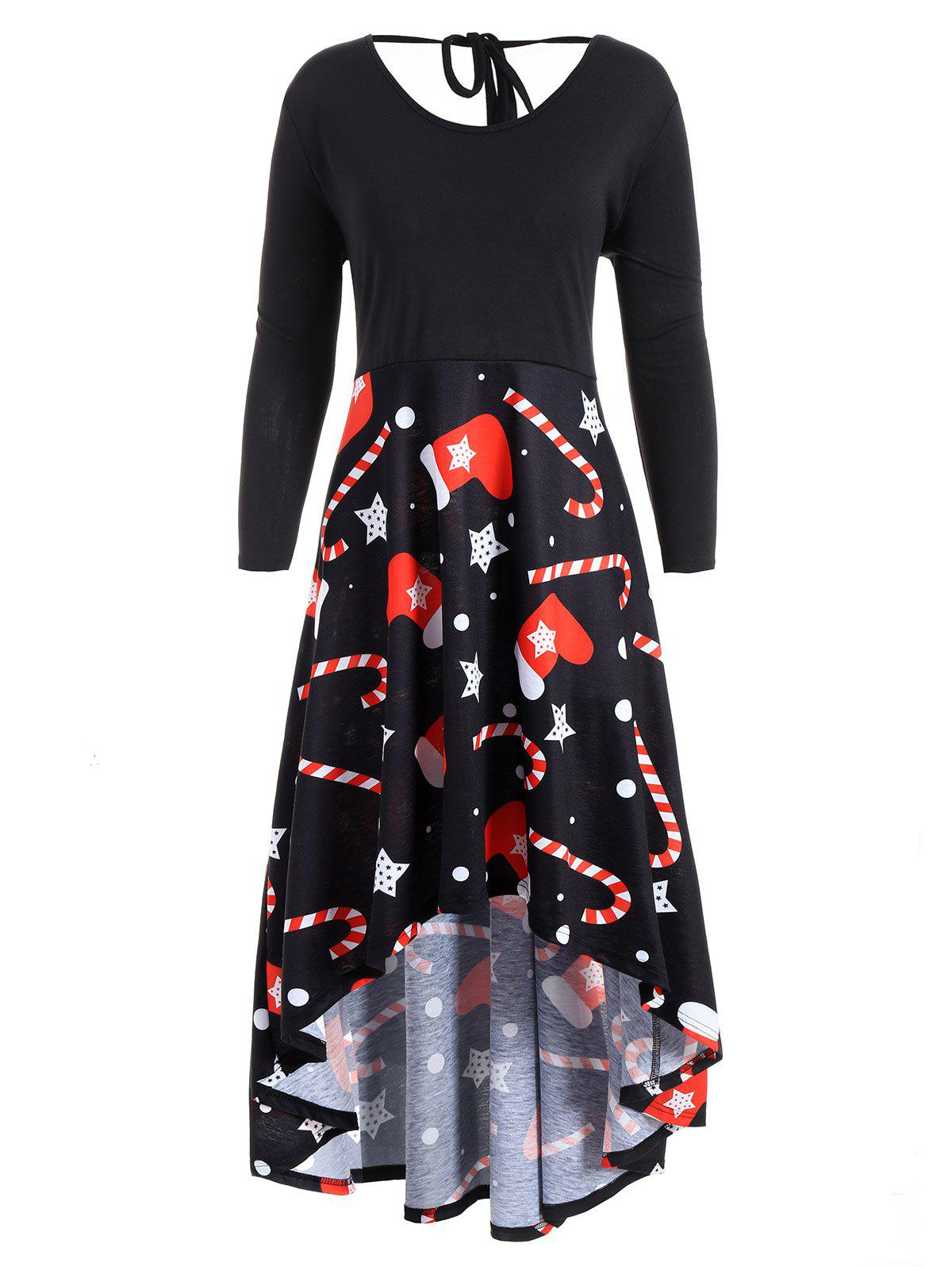 Christmas Printed Plus Size High Low Dress plus size christmas candy printed dress