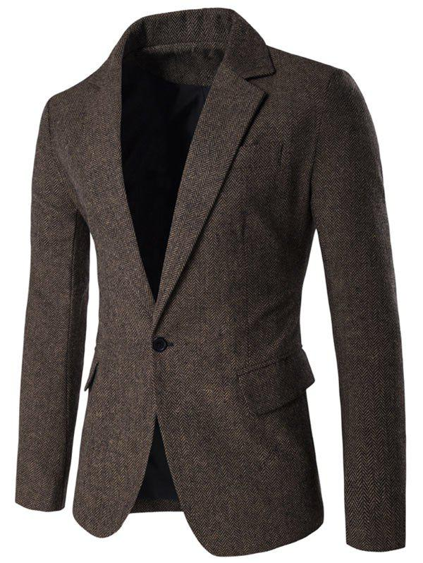 One Button Lapel Collar Tweed Herringbone Blazer - COFFEE L