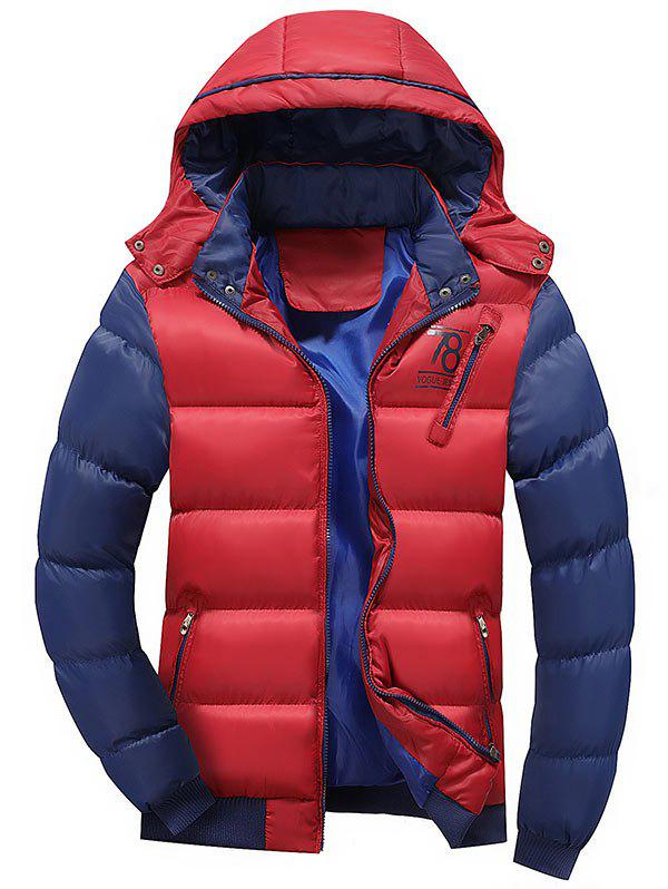 Detachable Hood Graphic Two Tone Padded Jacket - RED XL