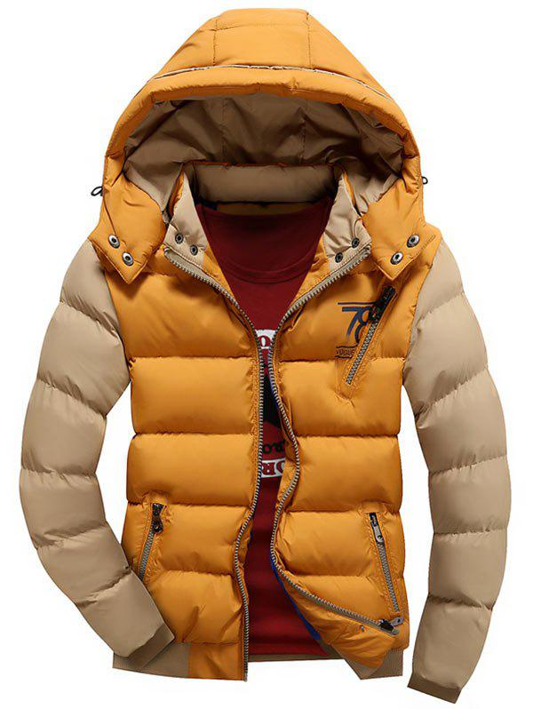 Detachable Hood Graphic Two Tone Padded Jacket - EARTHY XL