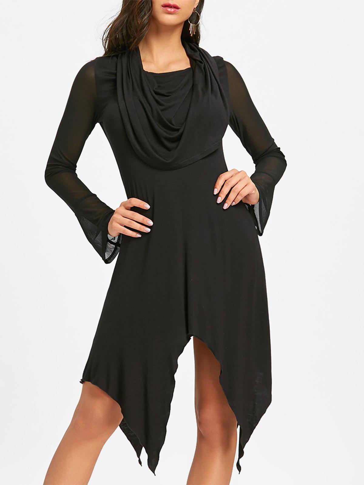 Convertible Handkerchief Midi Dress - BLACK L