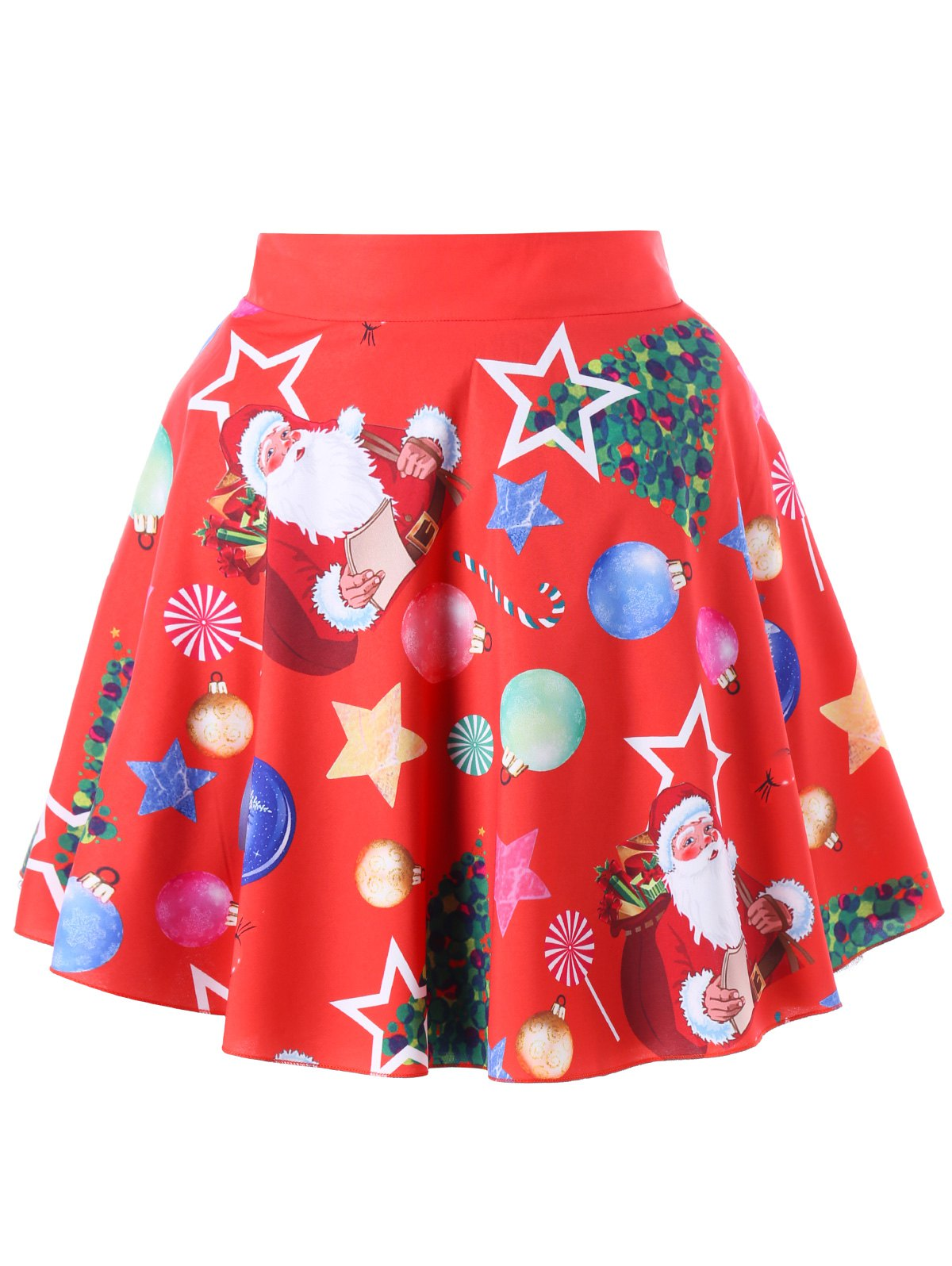 Plus Size Christmas Santa Claus Swing Skirt - RED 3XL