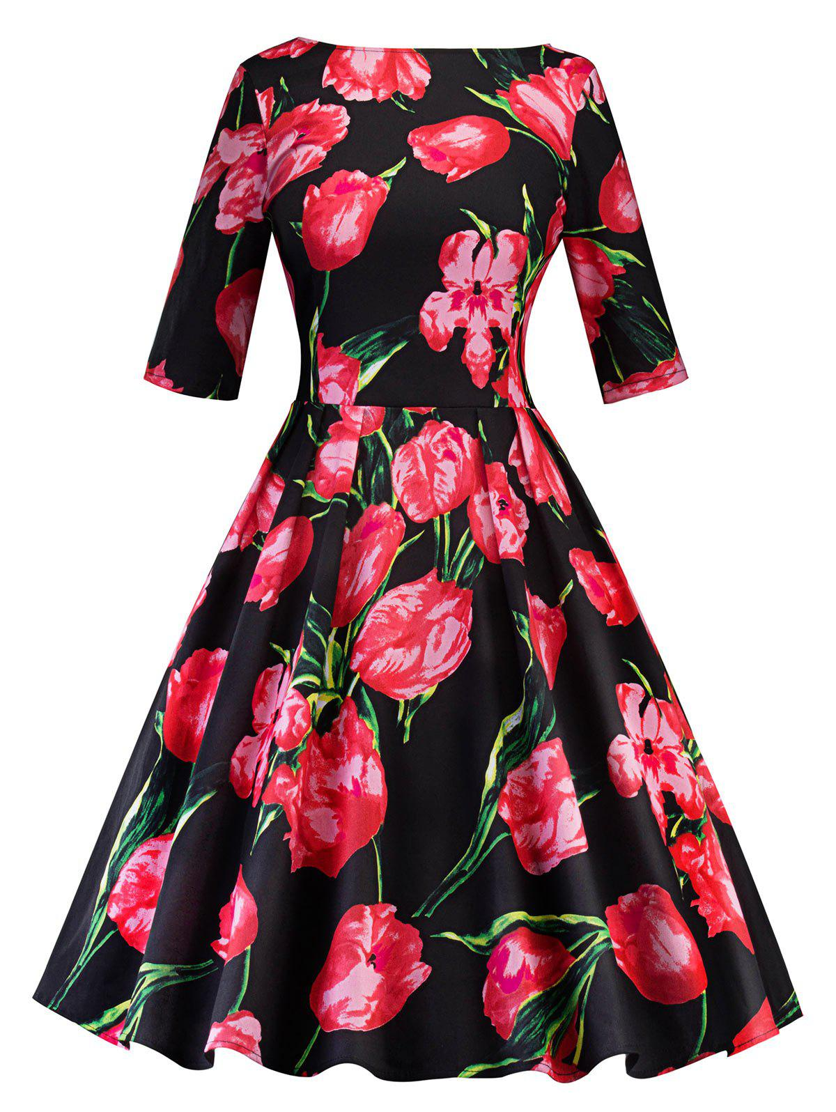 Vintage Floral Printed Party A Line Dress - BLACK/RED XL