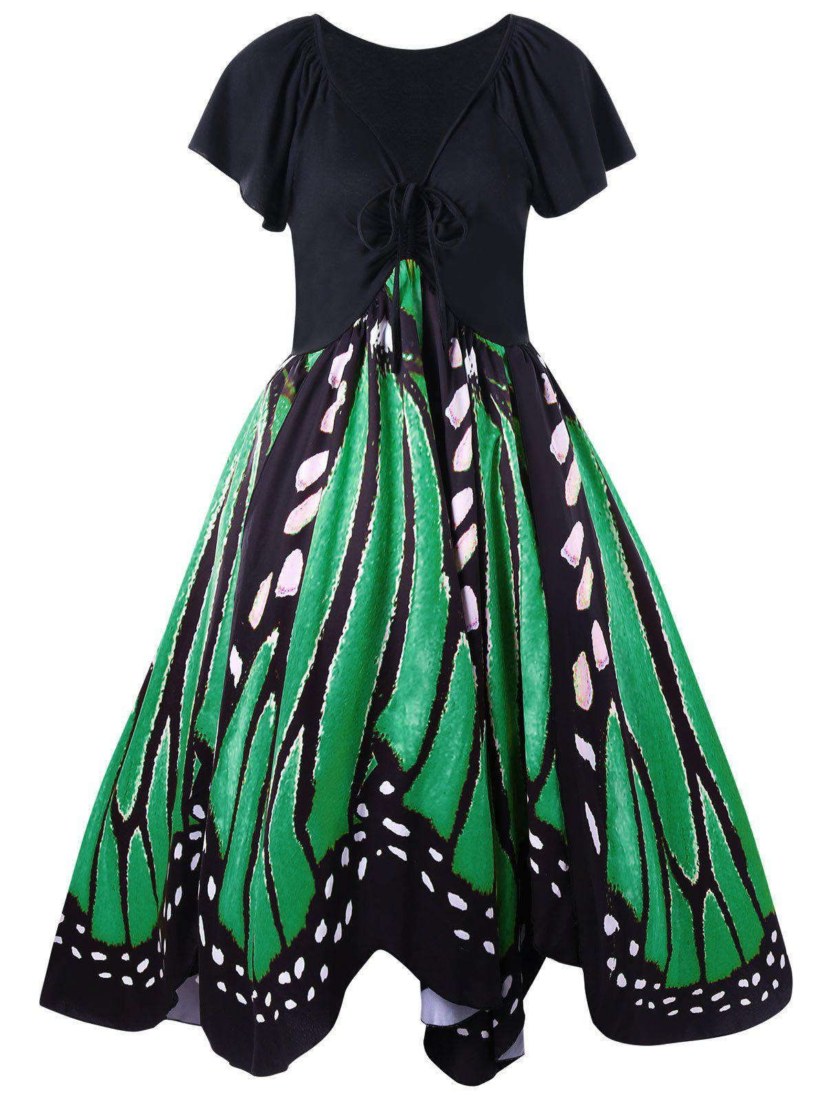 Plus Size Butterfly Pattern Swing Dress - GREEN XL