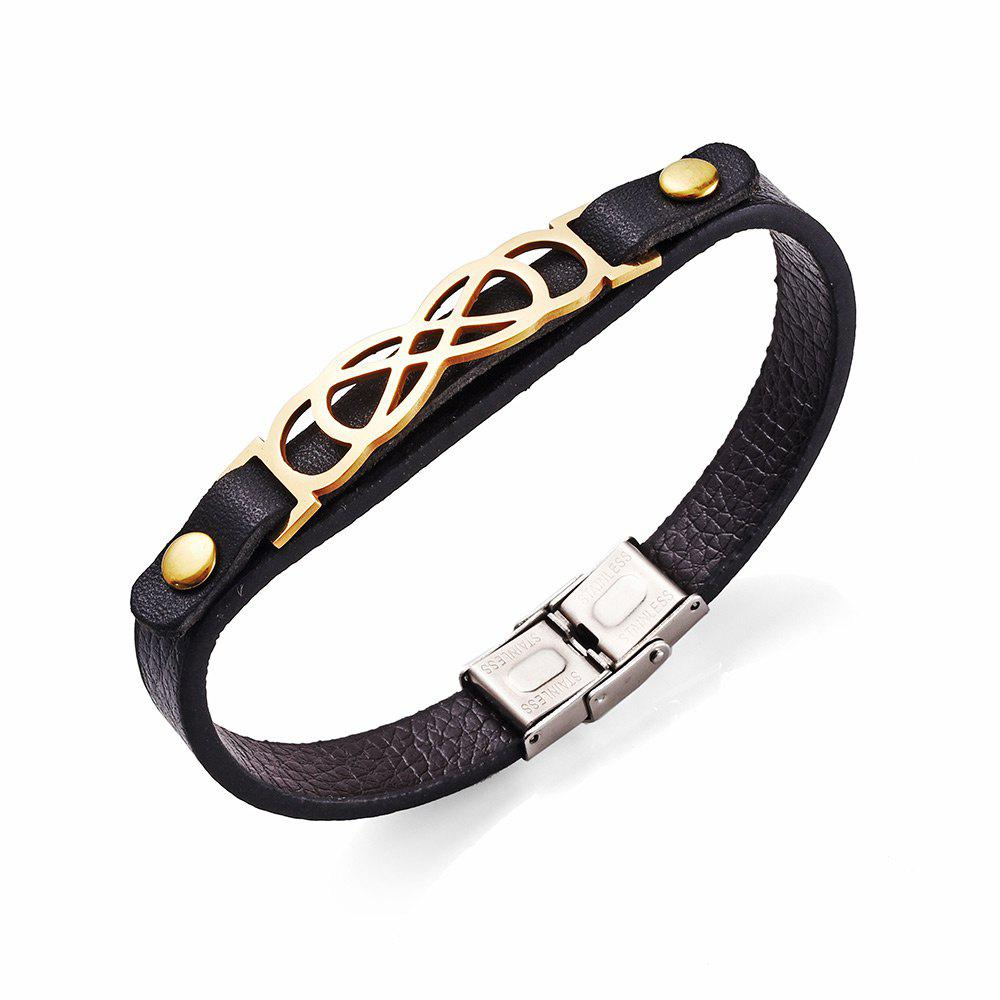 Stainless Steel Artificial Leather Infinite Bracelet - MARIGOLD