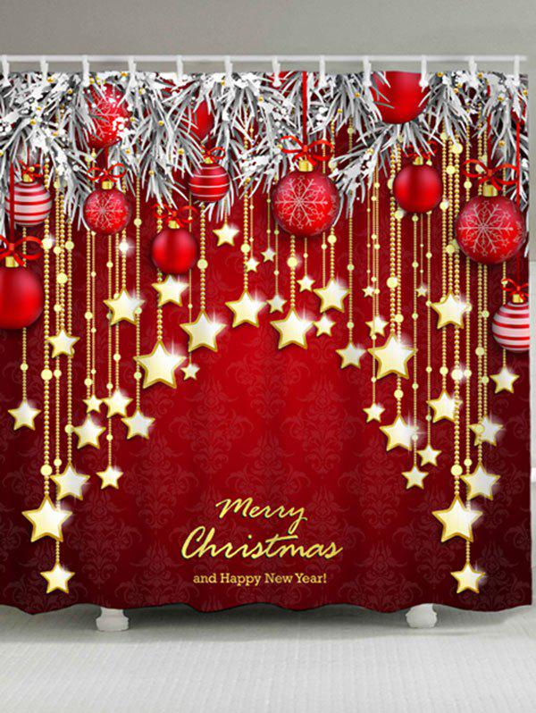 Christmas Star Ball Pattern Polyester Waterproof Shower Curtain - DARK RED W71 INCH * L79 INCH