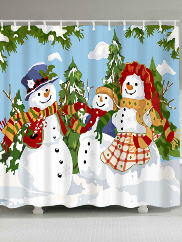 Christmas Snowman Family Print Waterproof Shower Curtain waterproof christmas snowman pine pattern shower curtain