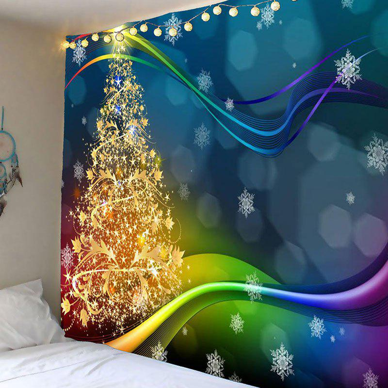 Colored Lines Christmas Tree Printed Waterproof Wall Art Tapestry christmas tree snowman printed wall tapestry