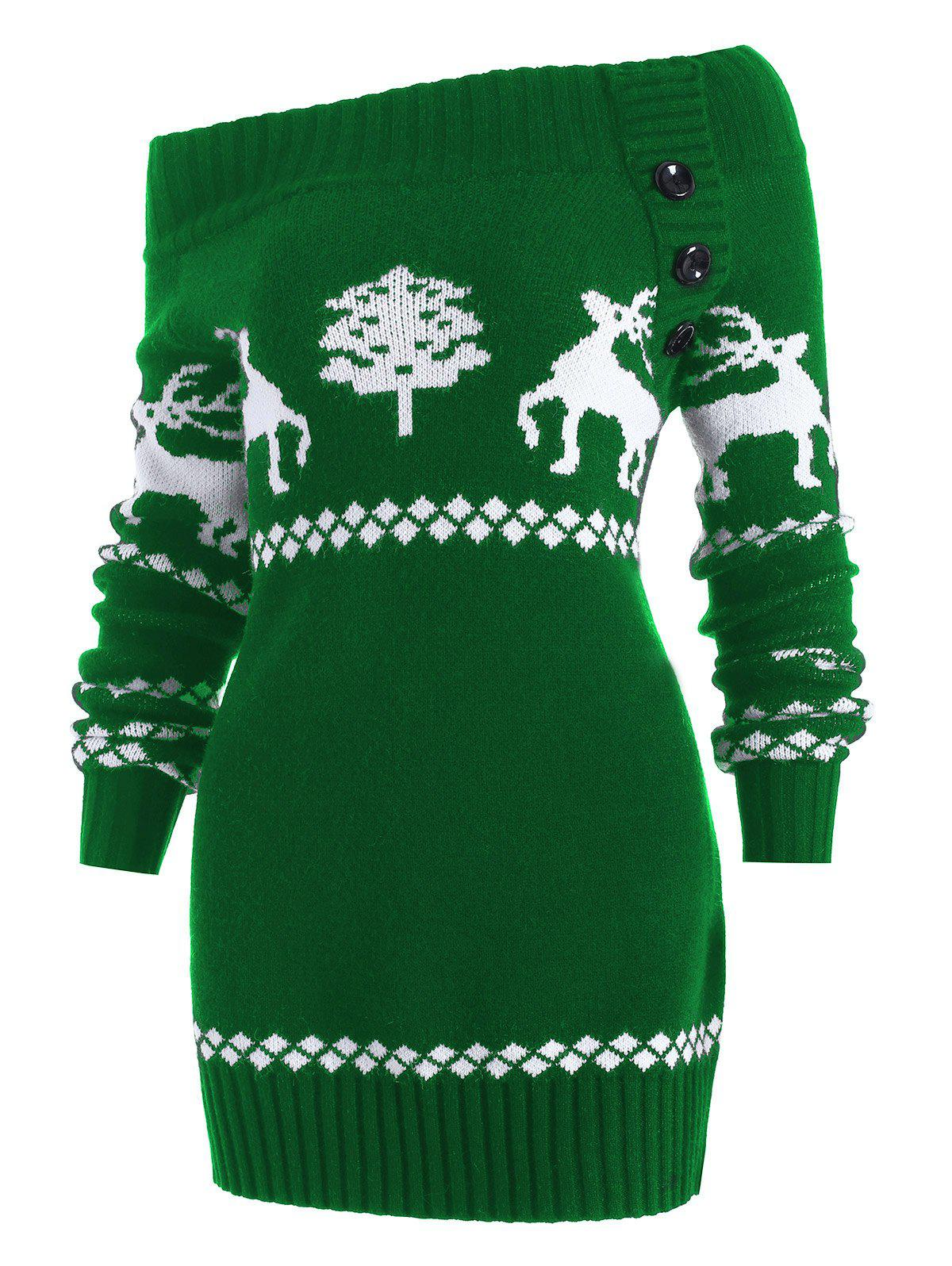 Off The Shoulder Reindeer Knit Tunic Sweater - GREEN 2XL