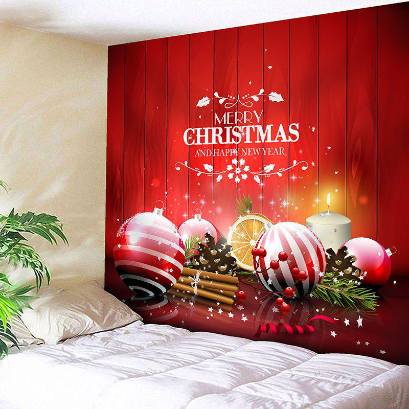 Wall Art Christmas Balls Pattern Bedroom Tapestry - RED W79 INCH * L71 INCH