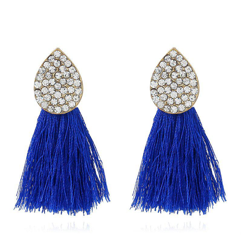 Water Drop Rhinestone Decorated Tassel Dangle Earrings
