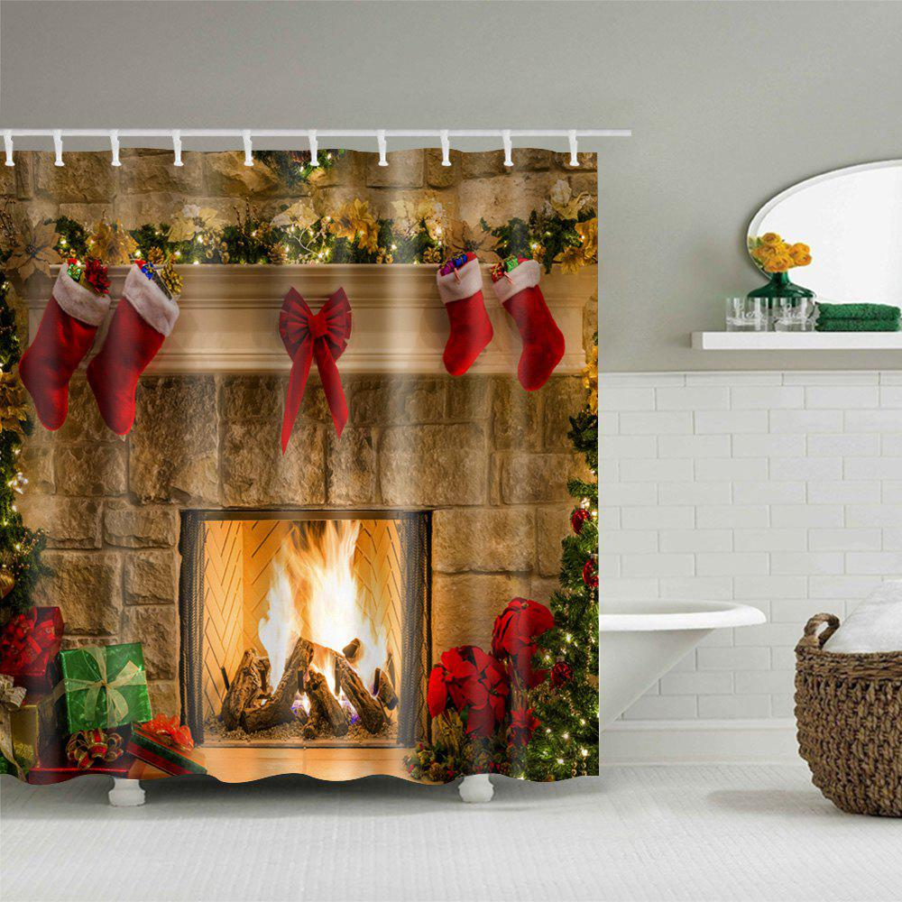 2017 christmas fireplace stockings print waterproof bathroom shower curtain colormix w inch l. Black Bedroom Furniture Sets. Home Design Ideas