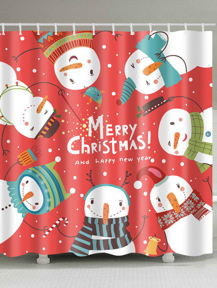 Christmas Snowmen Letter Print Waterproof Fabric Shower Curtain christmas tree letter print waterproof shower curtain