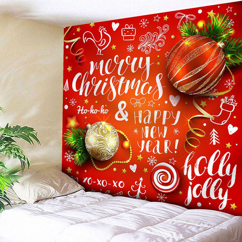 Christmas Ball Letter Print Wall Art Tapestry - RED W71 INCH * L71 INCH