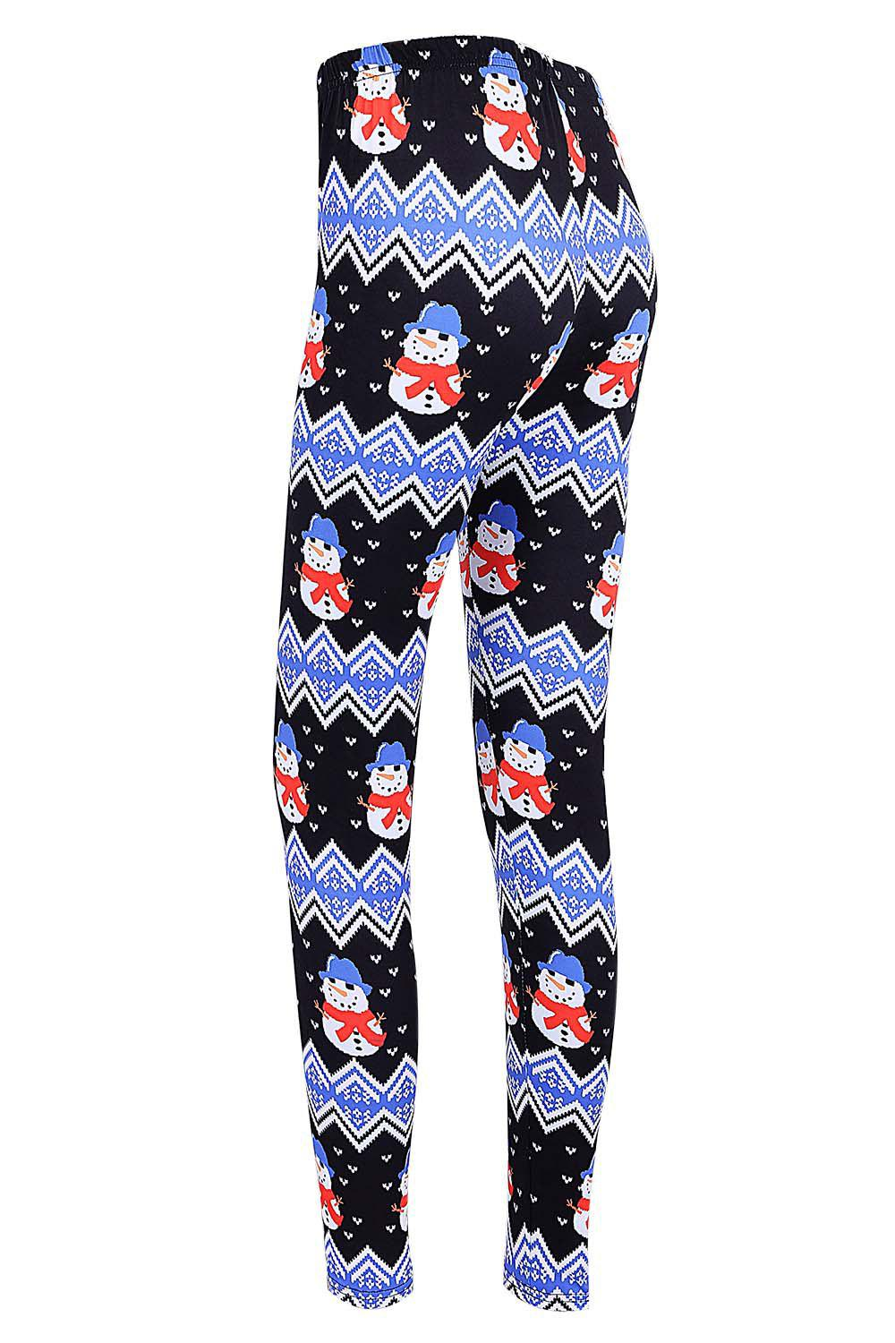 High Waisted Snowman Print Christmas Leggings - BLACK L