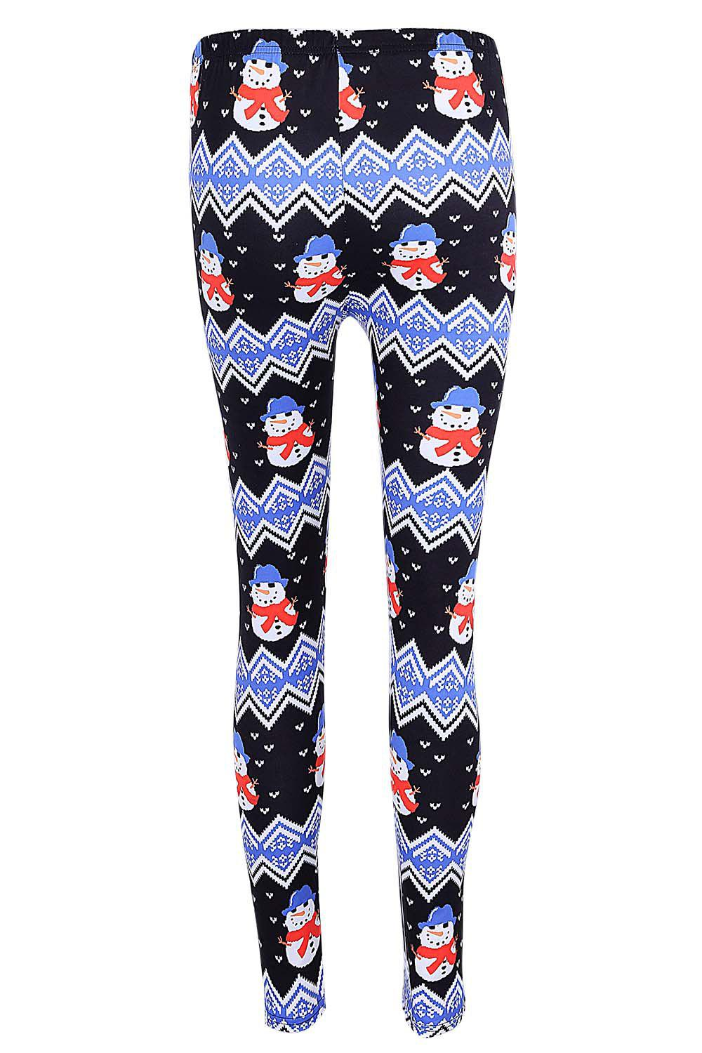High Waisted Snowman Print Christmas Leggings - BLACK S