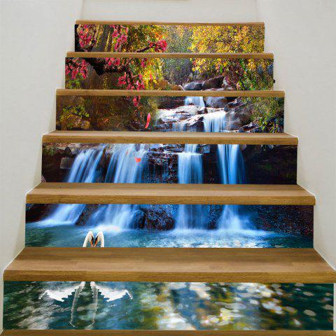 Forest Cascade Swans Printed 6Pcs Stair Stickers - COLORFUL 6PCS:39*7 INCH( NO FRAME )
