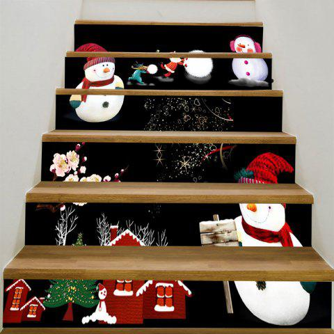 Removable Christmas Snowmen Decorative Stair Stickers - COLORFUL 6PCS:39*7 INCH( NO FRAME )