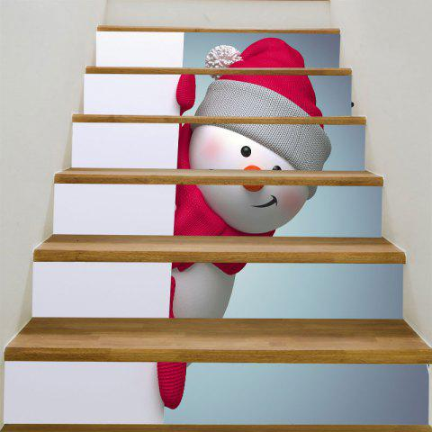 Red Hat Christmas Snowman Printed DIY Stair Stickers - COLORFUL 6PCS:39*7 INCH( NO FRAME )