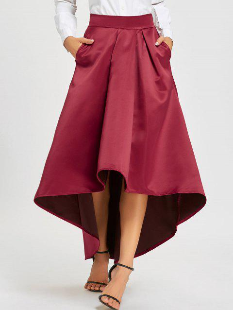 9ec0e84793aa 41% OFF] 2019 Elastic Waist High Low Maxi Skirt In WINE RED | DressLily