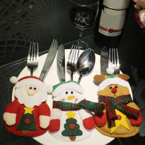 3PCS Christmas Decoration Knives and Forks Cover Bags - COLORFUL