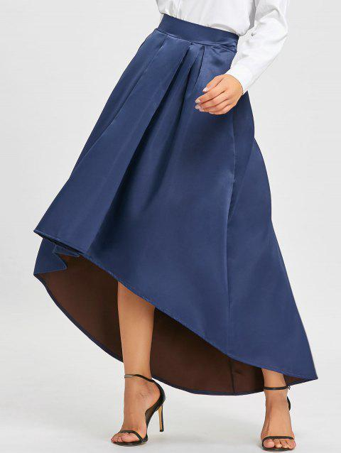 Elastic Waist High Low Maxi Skirt - BLUE M