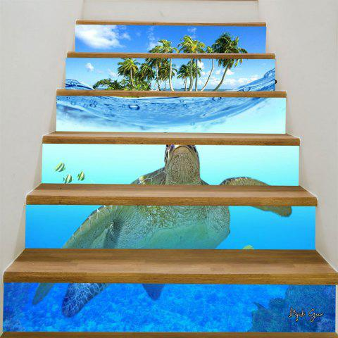 3D Sea Turtle Coconut Trees Patterned Stair Stickers - BLUE 6PCS:39*7 INCH( NO FRAME )