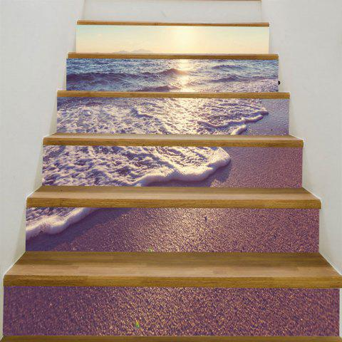 6Pcs Sunset Sea Waves Beach Print Stair Stickers - PURPLE 6PCS:39*7 INCH( NO FRAME )