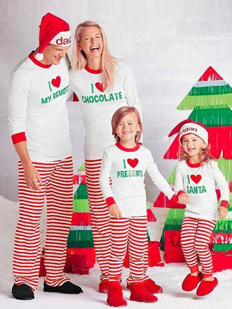 Stripe LOVE Matching Family Christmas Pajamas Set - RED KID 8T