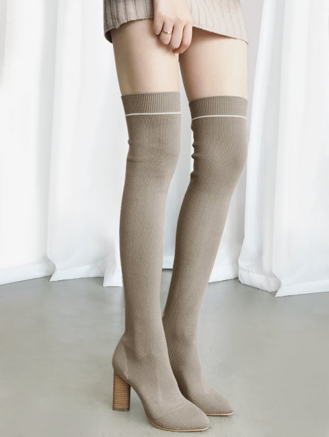 Faux Wood Heel Over-the-knee Sock Boots - APRICOT 37