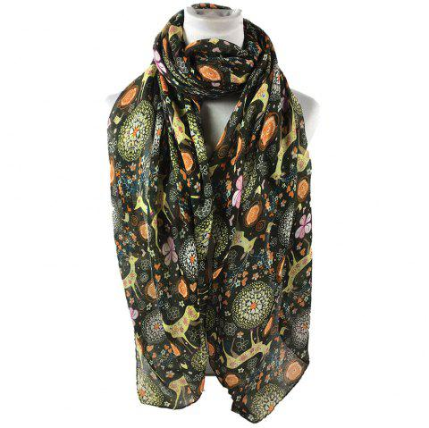 Soft Christmas Deer and Floral Decorated Long Scarf - ARMY GREEN