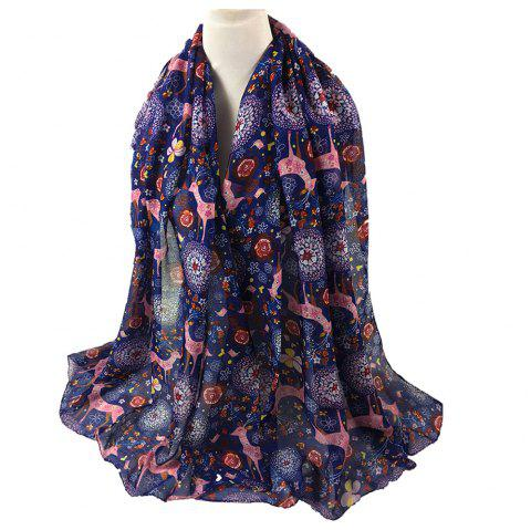 Soft Christmas Deer and Floral Decorated Long Scarf - PURPLISH BLUE