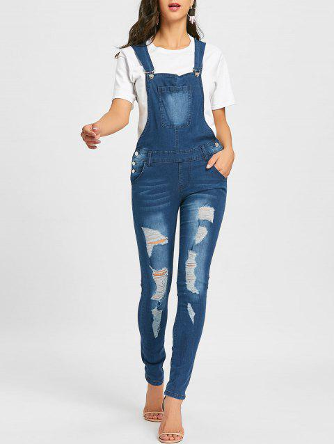 Distressed Cuffed Denim Dungarees - DENIM BLUE M